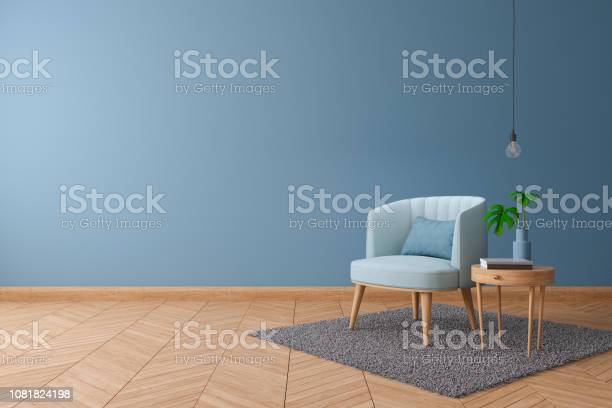 Blueprint Home Decor Concept Blue Armchair With Wood Table On Blue Paint Color Wall And Hardwood Flooring At The Homeinterior Design 3d Render Stock Photo Download Image Now Istock