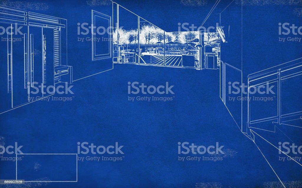 Blueprint House Interior stock photo