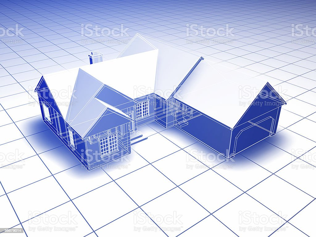 Blueprint House royalty-free stock photo