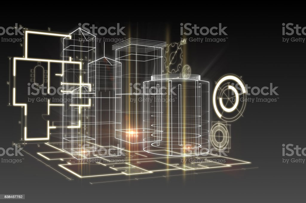 Blueprint interface stock photo