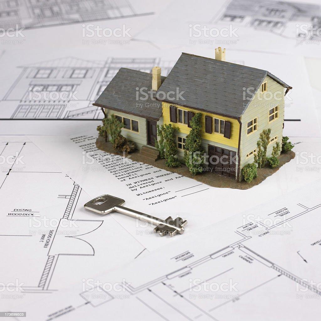 Blueprint, Modell nach Hause und Schlüssel Lizenzfreies stock-foto