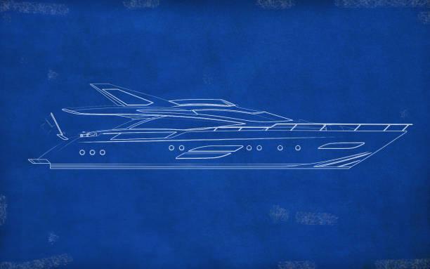 Blueprint - Modern Boat Design stock photo