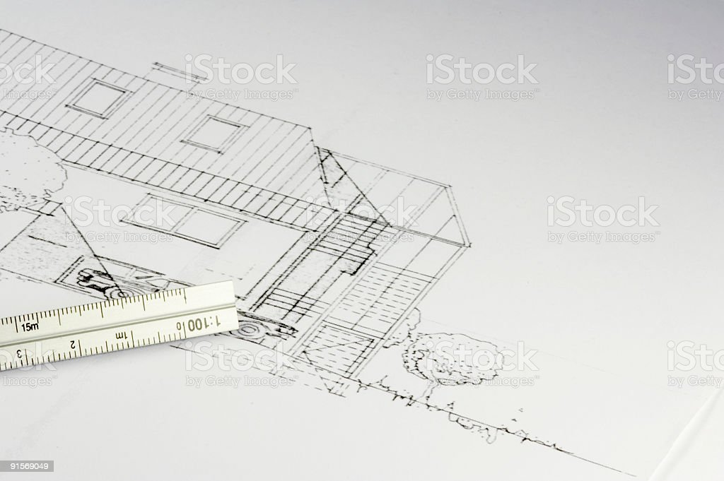 blueprint of a building 02 stock photo