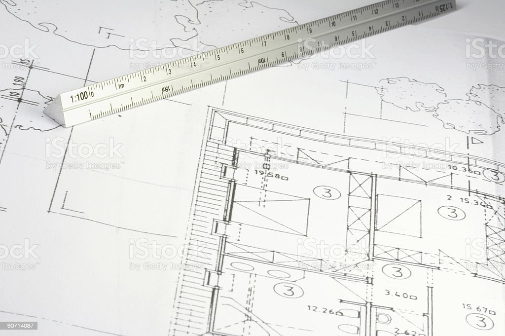 blueprint of a building stock photo