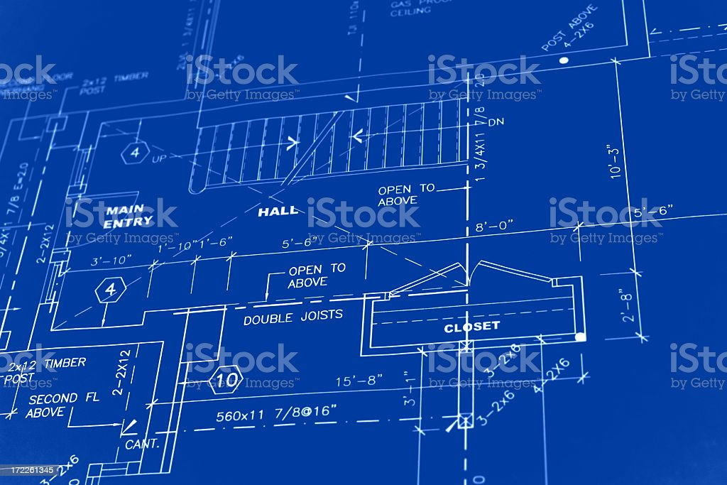 Blueprint of a house in construction royalty-free stock photo