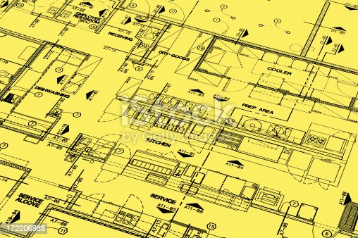 Blueprint of a restarant on a yellow paper that I have drawn as a school project.
