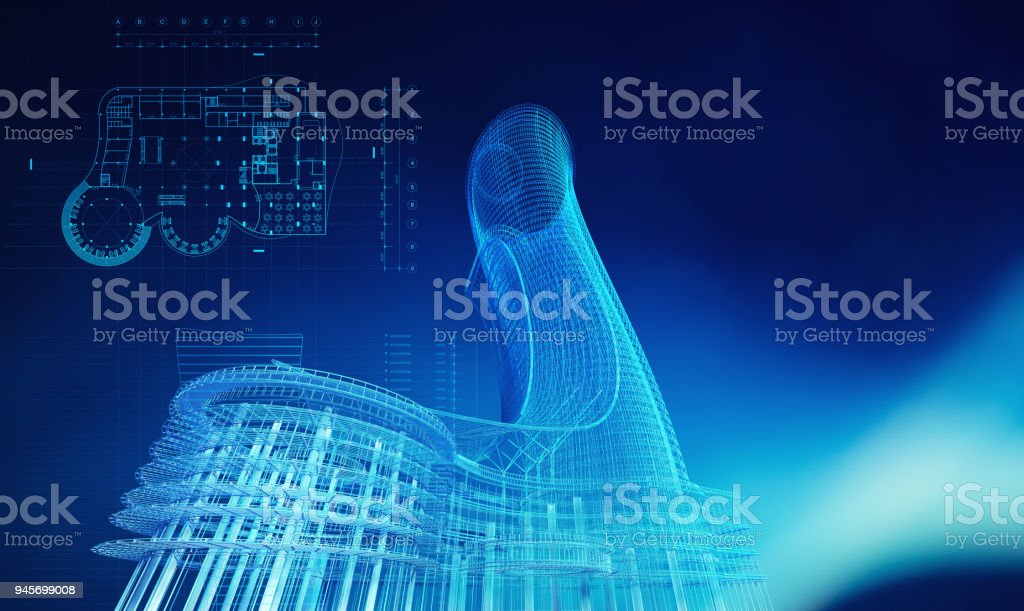 Blueprint of architecture building in technology construction concept, 3d illustration stock photo