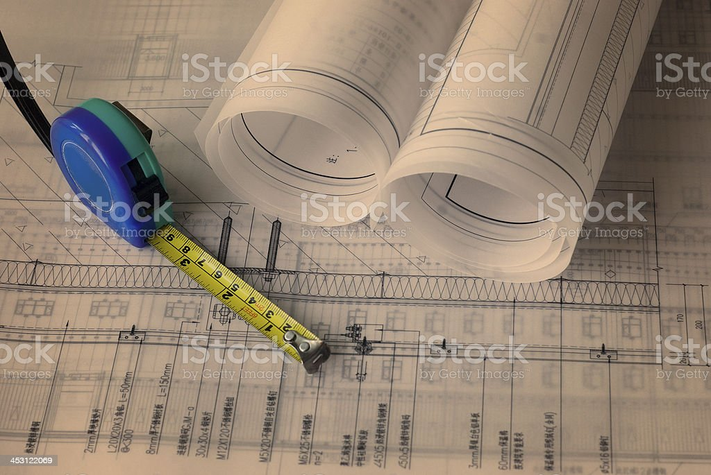 Blueprint of Architecture royalty-free stock photo