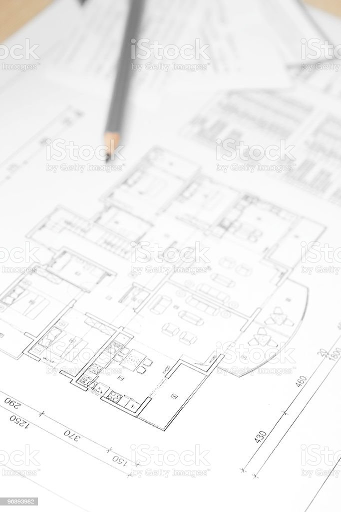 Blueprint of house plan. royalty-free stock photo