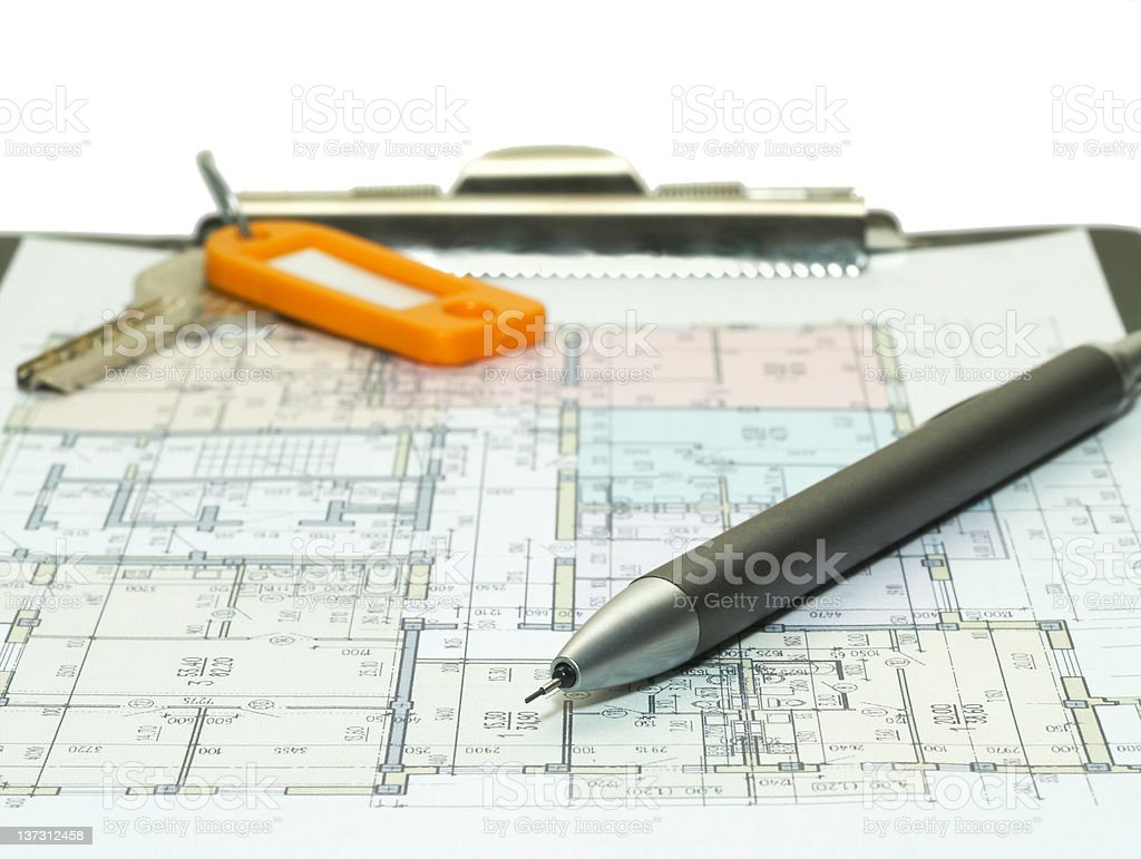Blueprint of house plans royalty-free stock photo