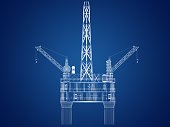 Blueprint of Oil rig platform