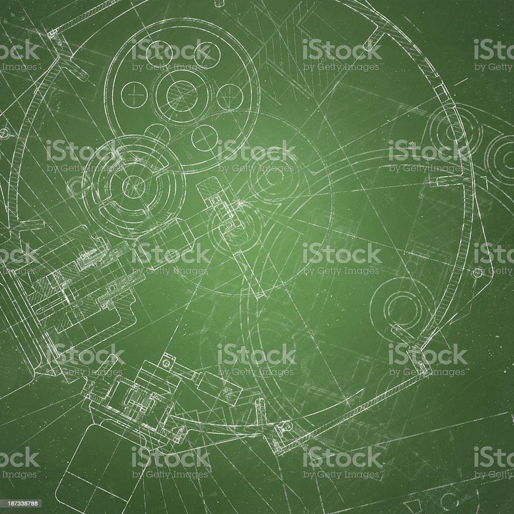 Blueprint On Chalkboard royalty-free stock photo
