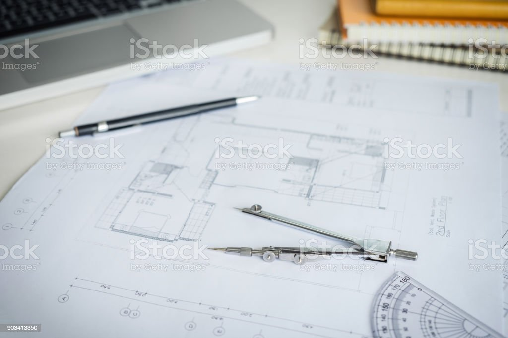 Blueprint paper drafting project sketch architectural dividers ruler blueprint paper drafting project sketch architectural dividers ruler engineering tools on workplace royalty malvernweather Gallery