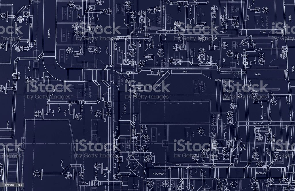 HVAC Blueprint royalty-free stock photo