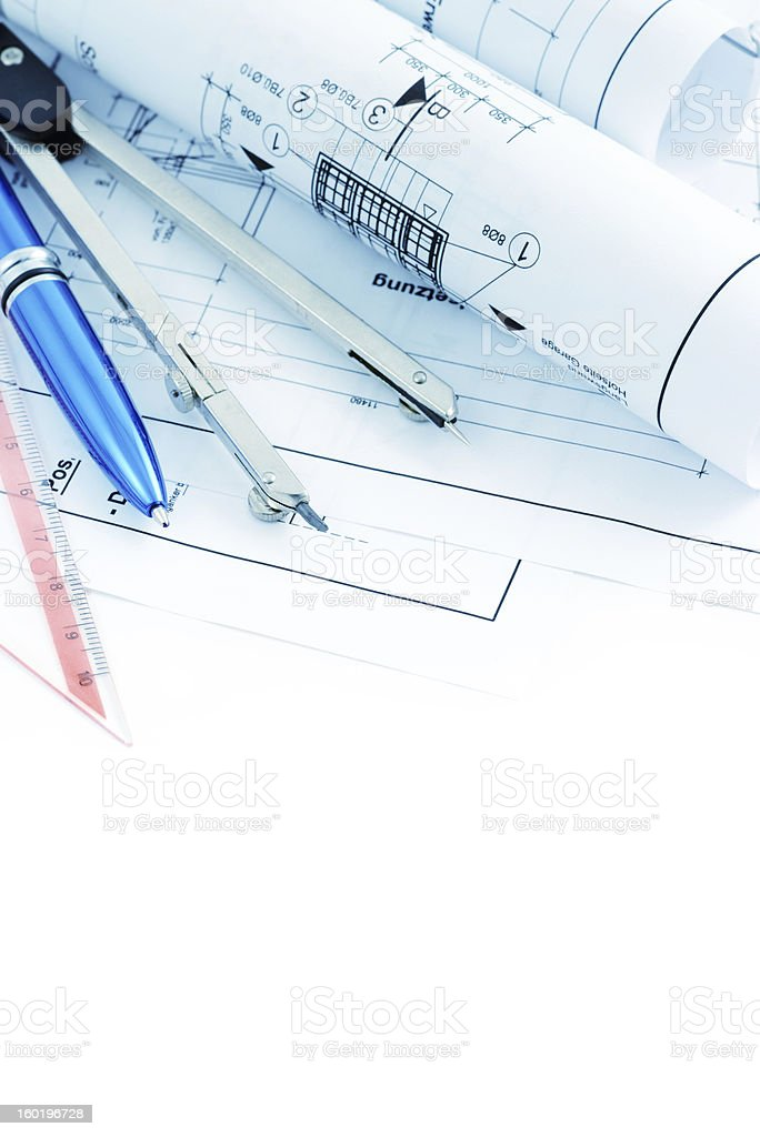 blueprint plan of house building with copy space royalty-free stock photo