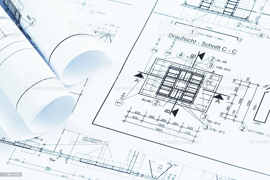 blueprint plan of house building with drawing compass royalty-free stock photo