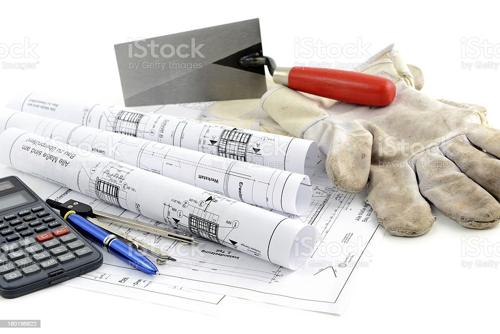 blueprint plan of house building with tools royalty-free stock photo