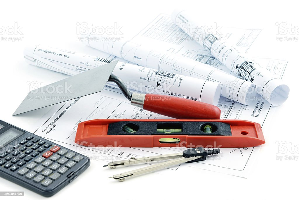 blueprint plan of house building with trowel stock photo