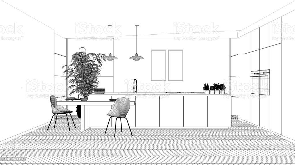 Blueprint Project Draft Modern Clean Contemporary Kitchen Island And Wooden Dining Table With Chairs Bamboo And Potted Plants Window And Parquet Floor Interior Design Concept Idea Stock Photo Download Image Now