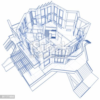 istock 3D blueprint rendering of a modern two story house 91171955