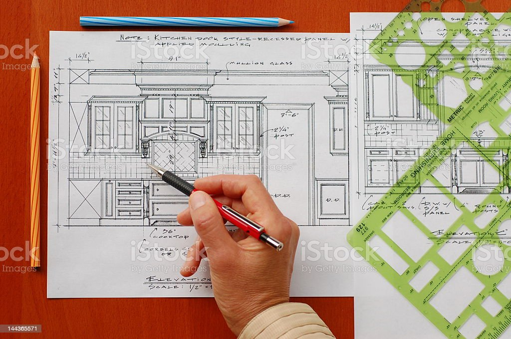 A blueprint sketch of a kitchen royalty-free stock photo