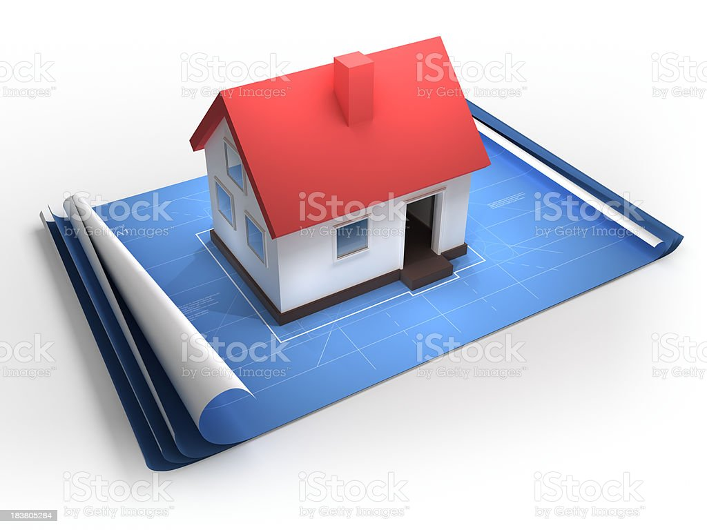 High quality render of unfolded blueprint plans with 3d home....