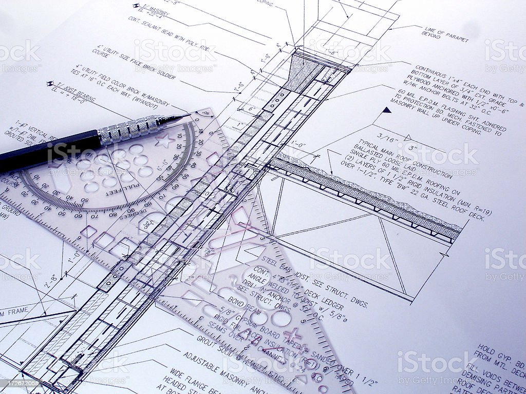 Blueprint with drafting tools royalty-free stock photo