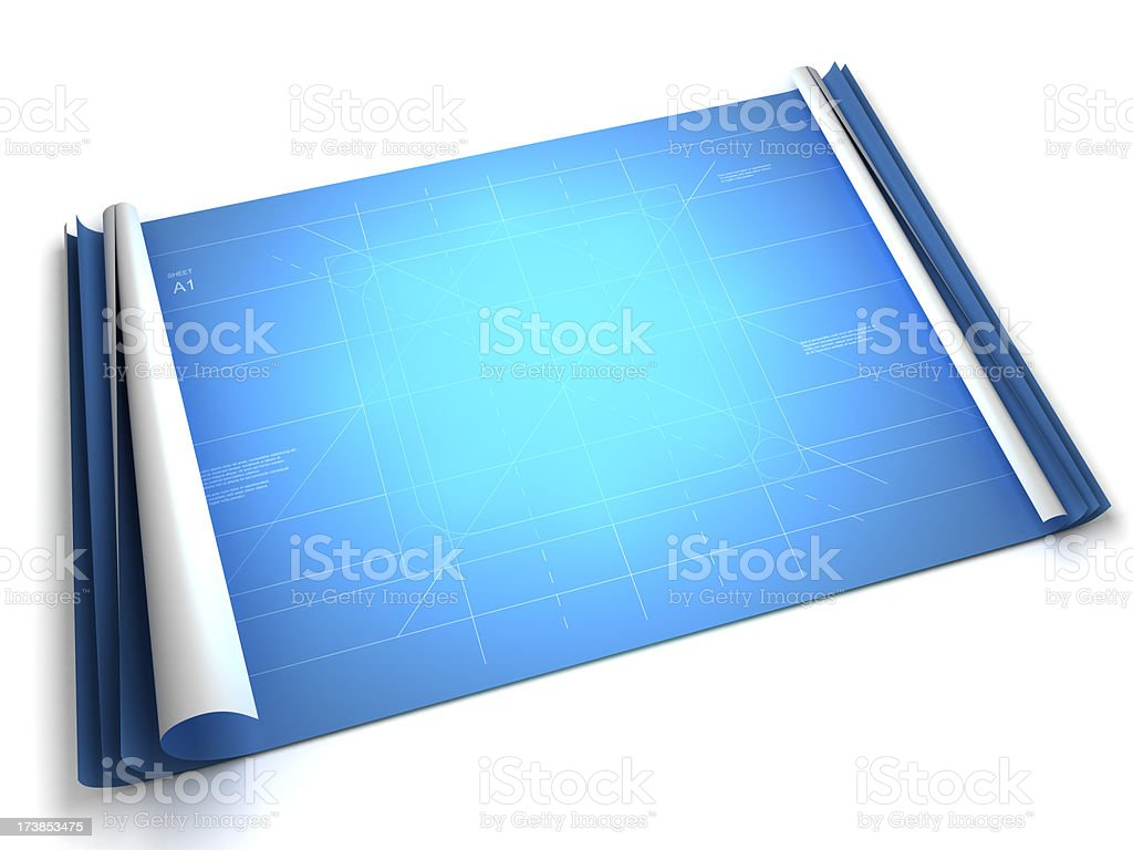 Blueprint with room for your product (Clipping path included) royalty-free stock photo