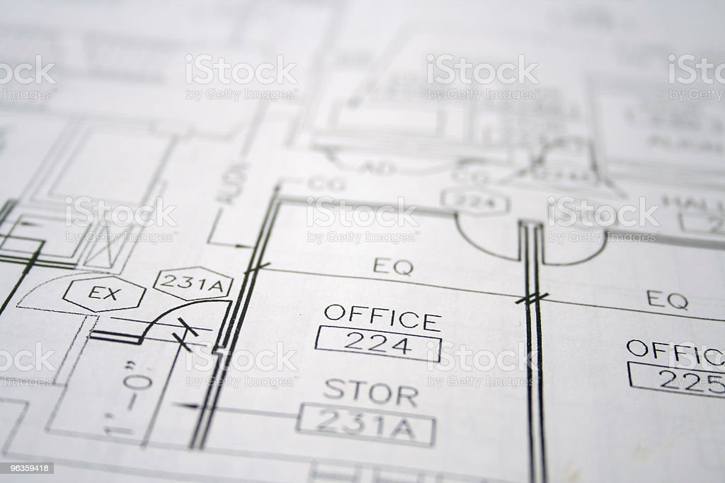 blueprint with selective focus stock photo