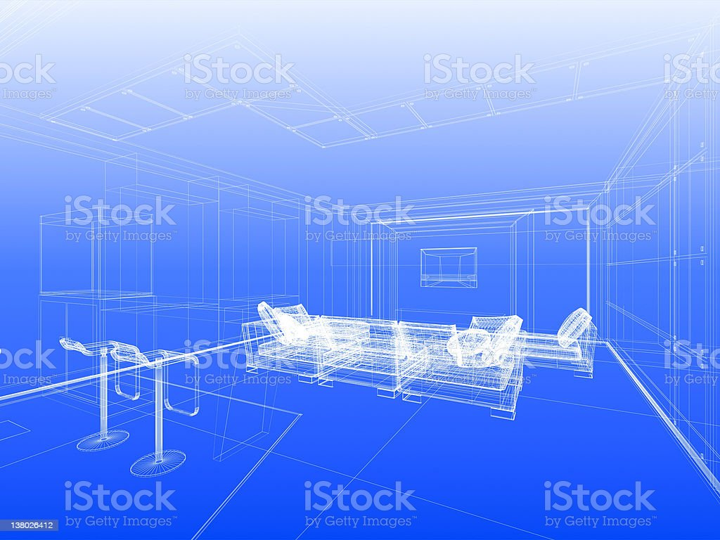 Blueprint with wireframe interior royalty-free stock photo