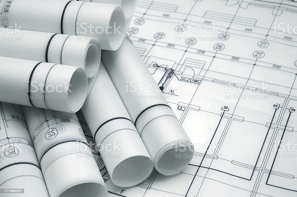 Blueprint-Document Paper For Atchitecture Business Industry royalty-free stock photo