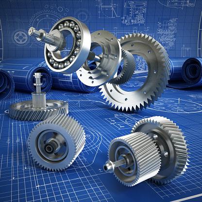 Blueprints and 3D metal machine parts. Mechanical engineering concept.