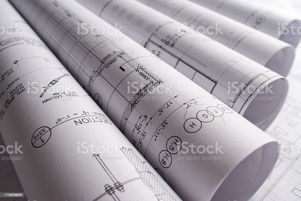 Blueprints and Architectural plans royalty-free stock photo