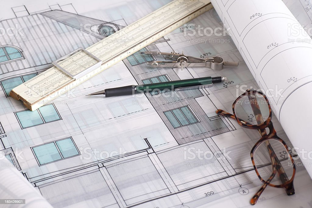 Blueprints and Drawing Tools royalty-free stock photo