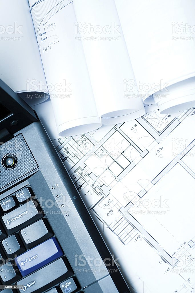 Blueprints and laptop series... royalty-free stock photo