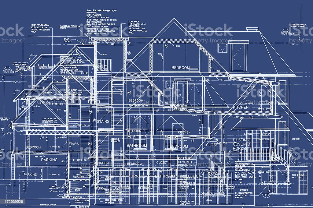 BluePrints - Chaos of Lines VI royalty-free stock photo
