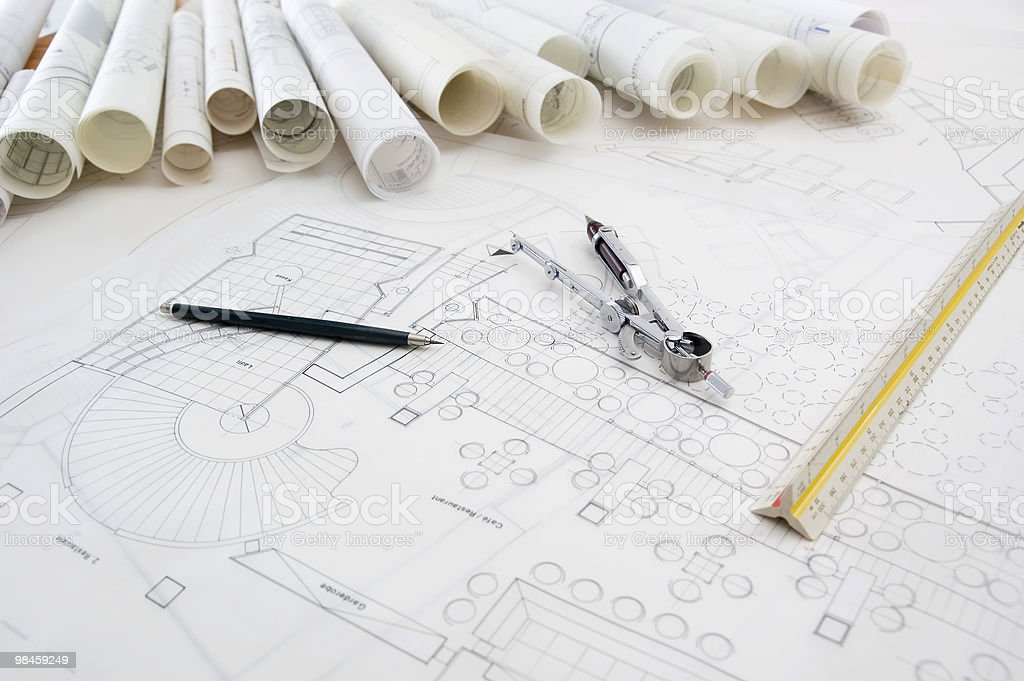 Blueprints & Design Equipment royalty-free stock photo