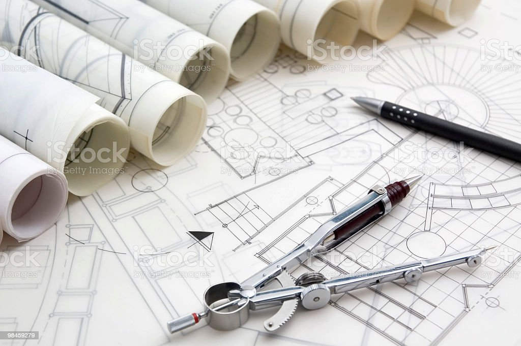 Blueprints & Drawing Tools royalty-free stock photo