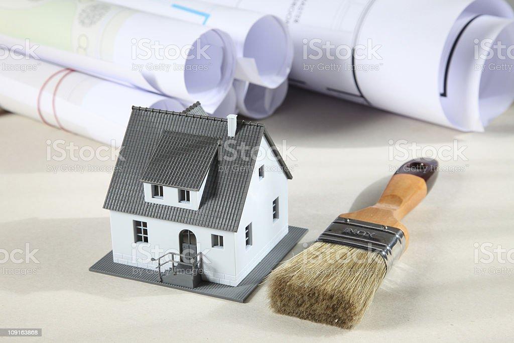 Blueprints, house and brush XXL royalty-free stock photo