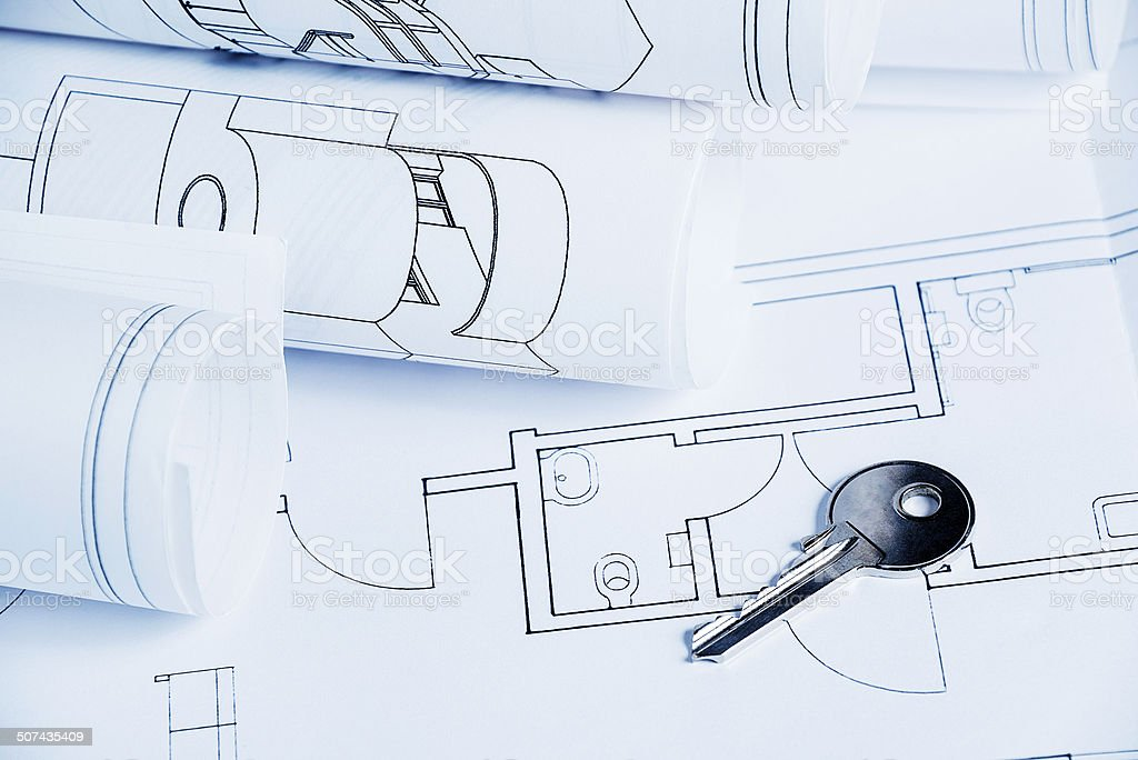 Blueprints house royalty-free stock photo