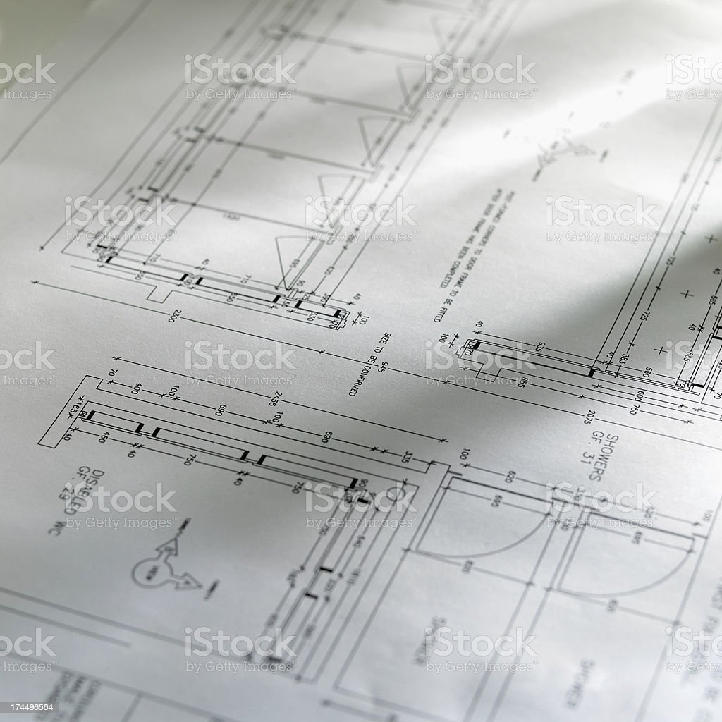 Blueprints on a table royalty-free stock photo
