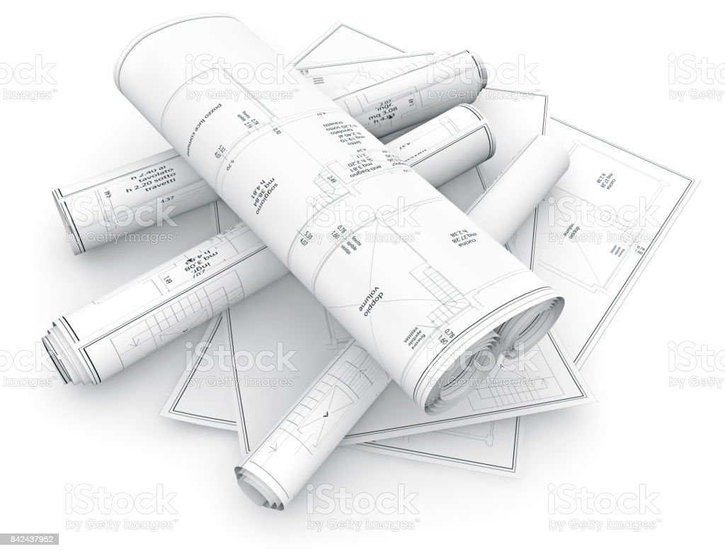 blueprints on white background stock photo