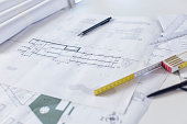 Close up of blueprints on the table.