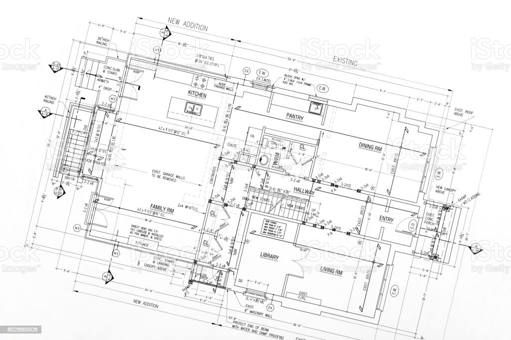 blueprints stock photo