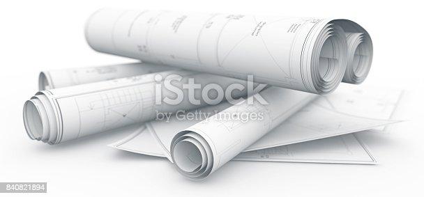 istock blueprints rolls isolated on white 840821894