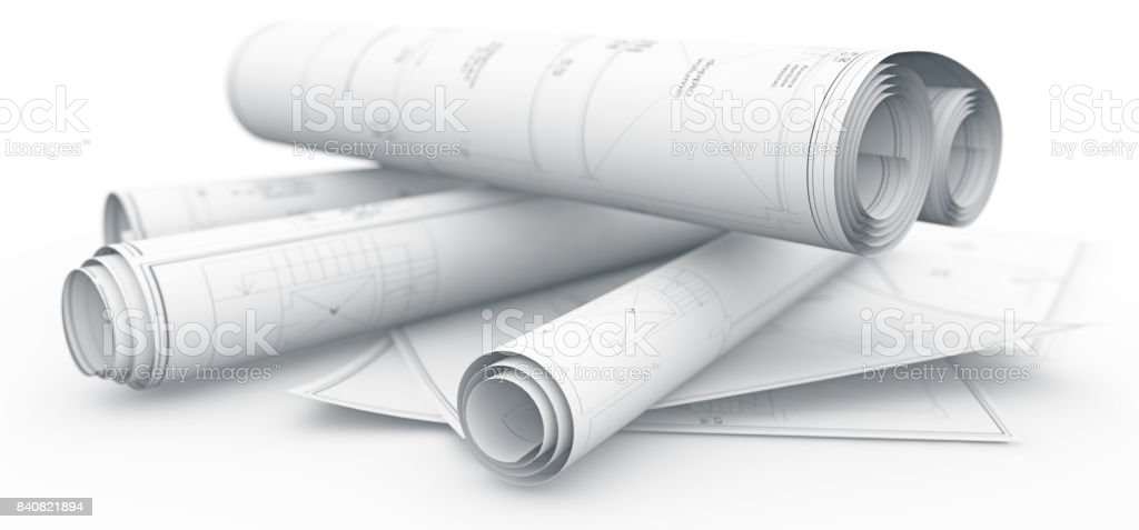 blueprints rolls isolated on white stock photo