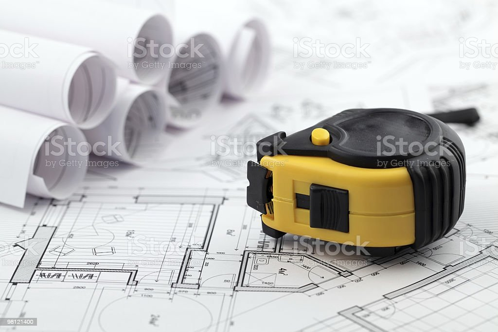 blueprints & tape measure royalty-free stock photo