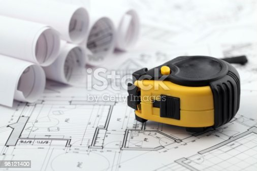 Blueprints Tape Measure Stock Photo & More Pictures of Architecture