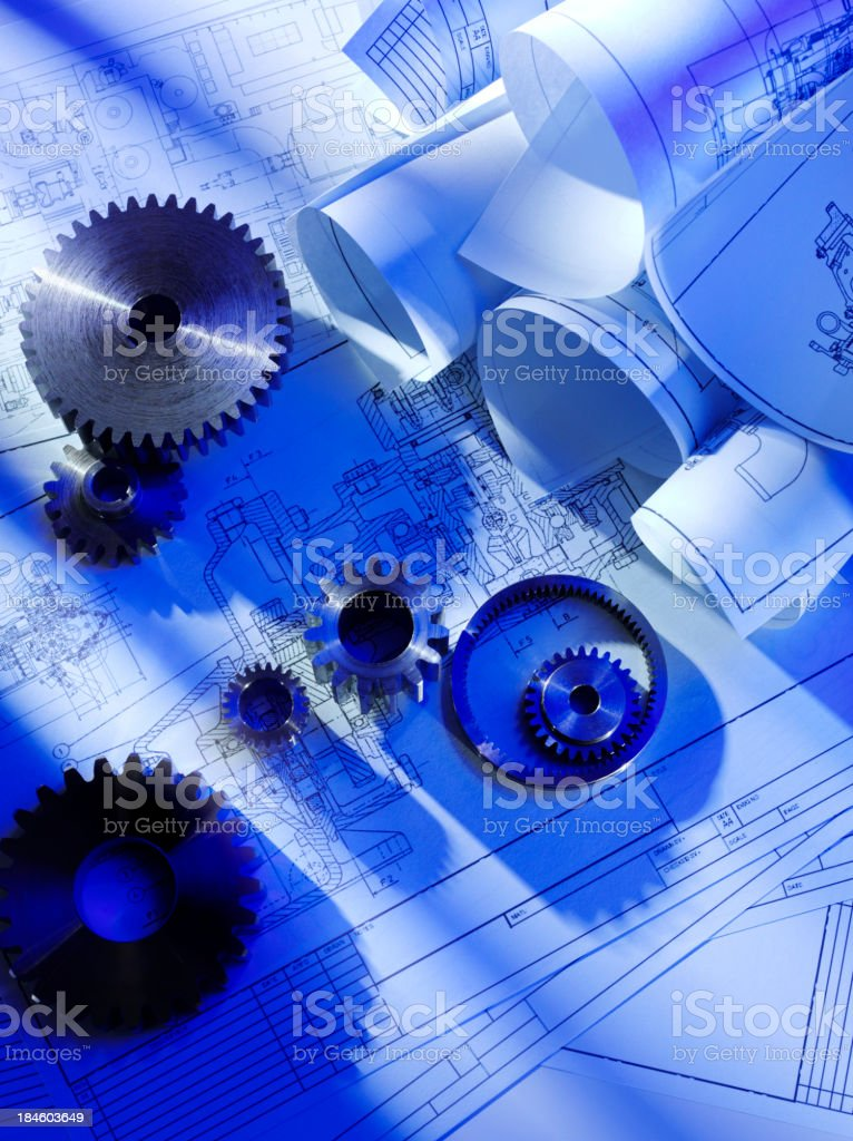 Blueprints with Cogs and Gears royalty-free stock photo