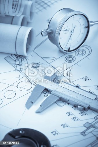 istock Blueprints with measuring instruments 157345333